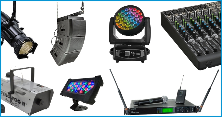 huge audio visual equipment rentals inventory