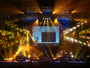 stage with sound, lighting, and video