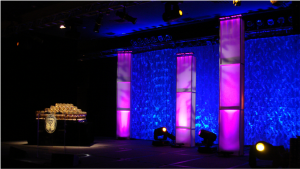 set design with drapery and lighting