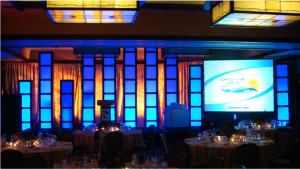 stage light boxes and video projection